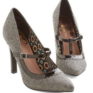 ModCloth Restricted Brown Tweed T-Strap Heels